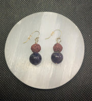 Amethyst and Lava Rock Essential Oil Earrings