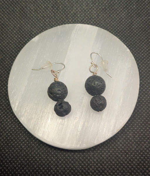 Black Lava Rock Essential Oil Earrings