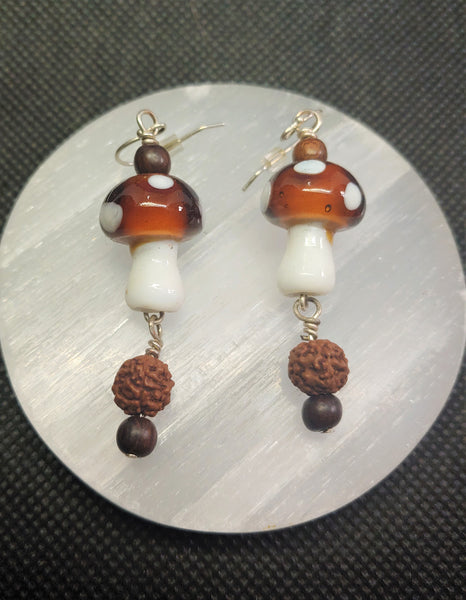 Mushroom Earrings with Essential Oil Beads
