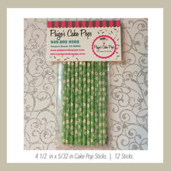 Green Floral Cake Pops Sticks