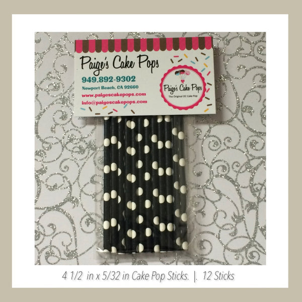 Black and White Polka Dots Cake Pop Sticks