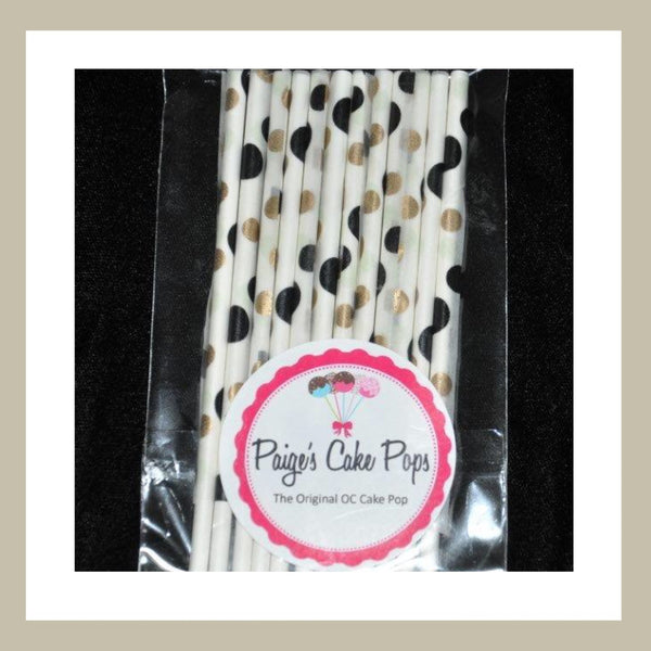 Black and Gold Polka Dot Cake Pop Sticks