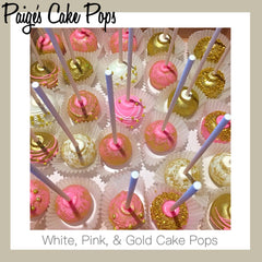 White, Pink and Gold Cake Pops