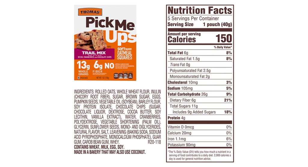Thomas'® Pick Me Ups Trail Mix Soft Baked Oatmeal Squares image 7 of 9