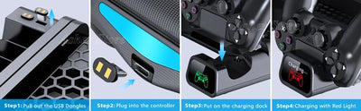 PS4/ PS4 Pro/ PS4 Slim Console Vertical Stand Charging Dock with Cooling System - XGamerPro
