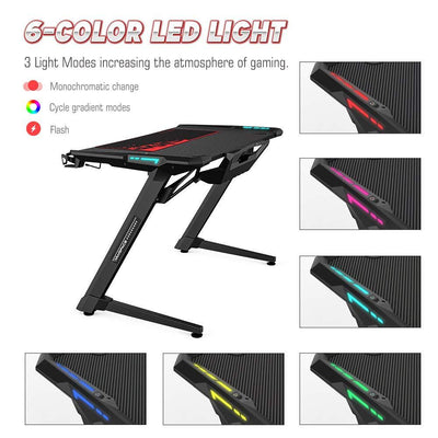 "47"" Ergonomic Gaming Desk with RGB LED Light - XGamerPro"