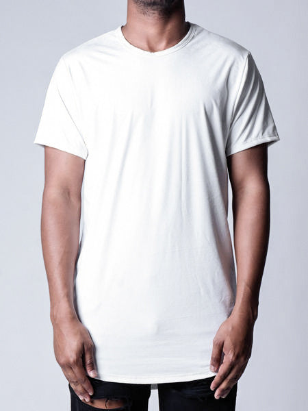 White | Side-Zip Long Tee - Rustic Dime