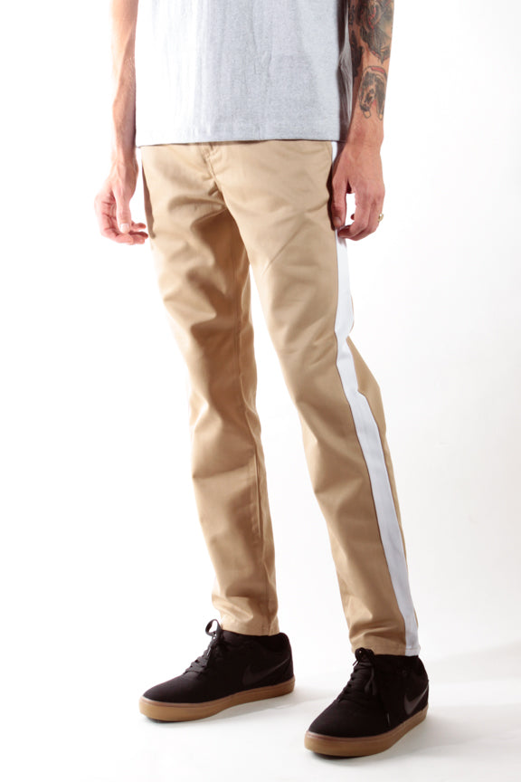 Khaki & White | Striped Chino Pants - Rustic Dime