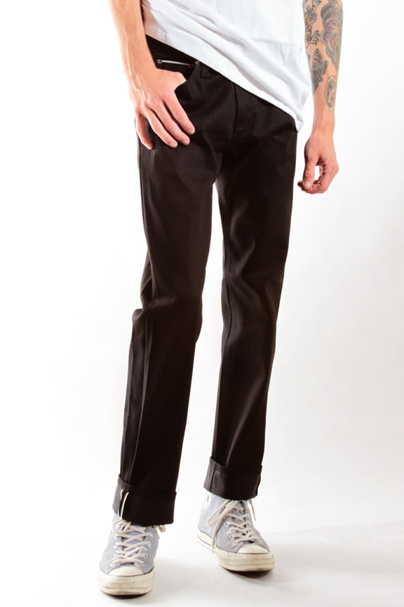 JET BLACK | SLIM STRAIGHT SELVEDGE DENIM - Rustic Dime - Made in USA