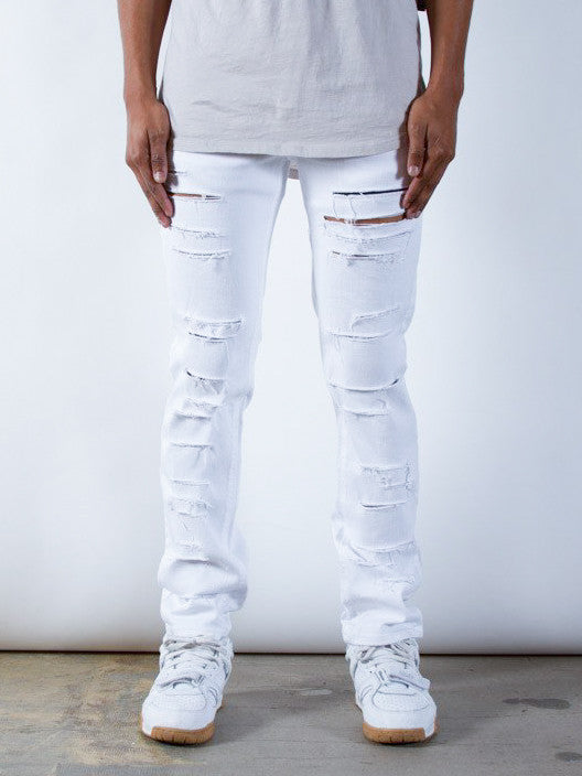 White Shredded | Taper Fit - Rustic Dime
