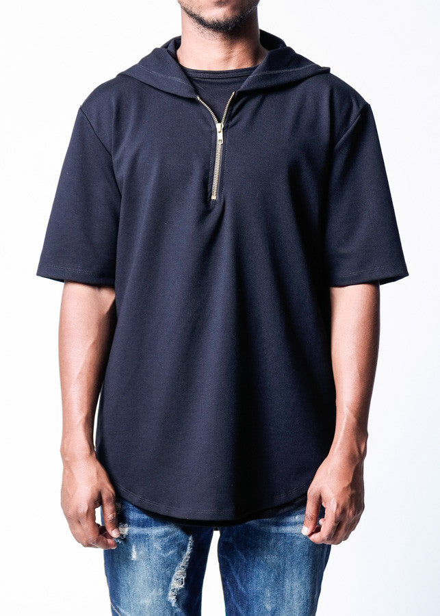 Rustic Dime Short Sleeve Performance Hoodie in Black - Front