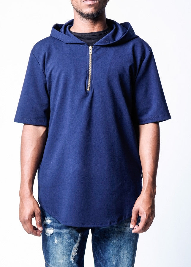 Navy | Short Sleeve Performance Hoodie - Rustic Dime