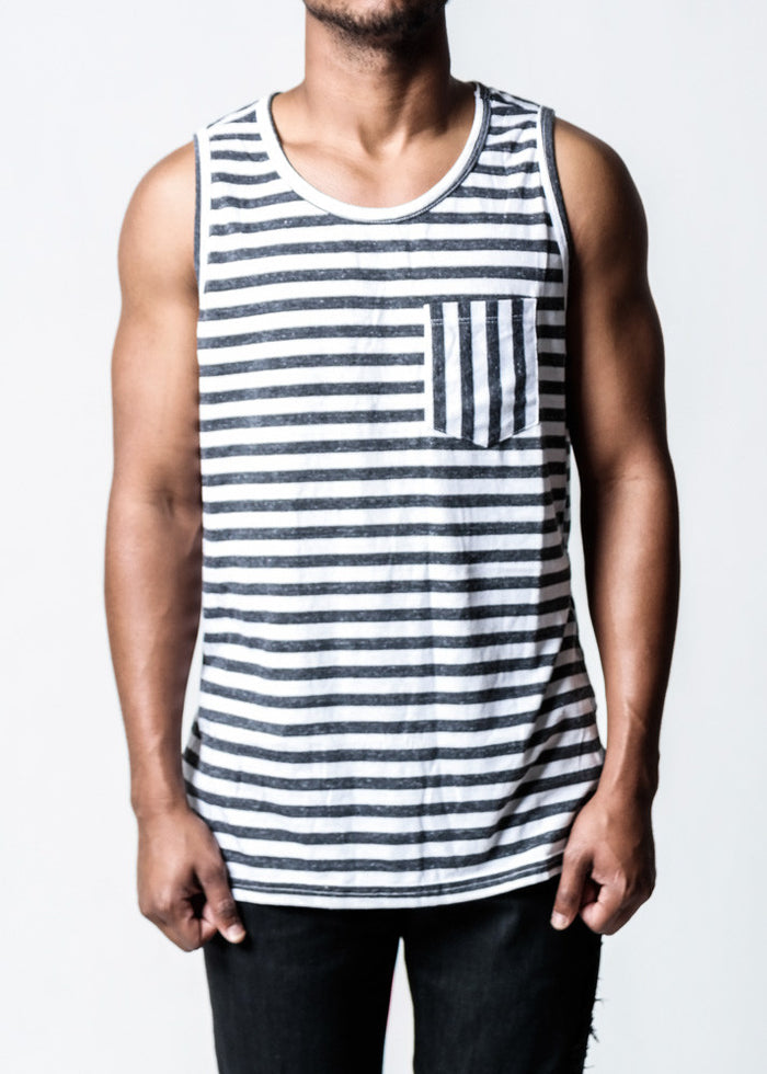 Striped Pocket | Tank Top - Rustic Dime