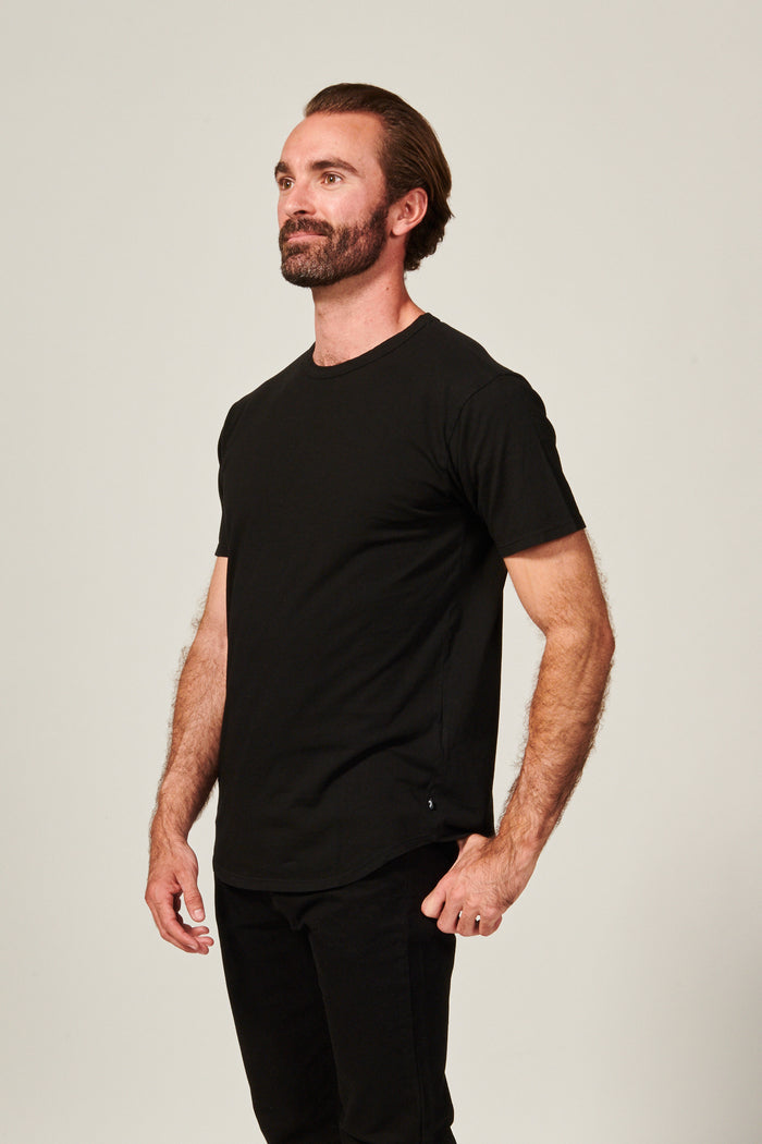 Classic Black Straight Hem T shirt. Garment Dyed 100% Pima Cotton- Rustic Dime - Made in USA