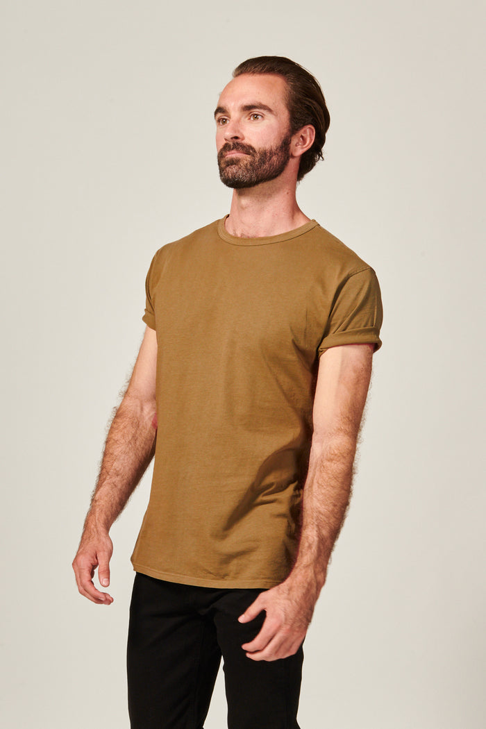 Classic Dark Tan Straight Hem T shirt. Garment Dyed 100% Pima Cotton- Rustic Dime - Made in USA