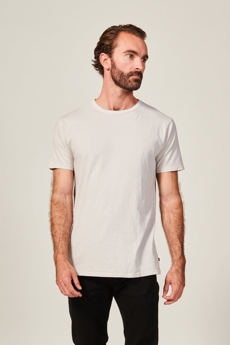 Classic light grey Straight Hem T shirt. Garment Dyed 100% Pima Cotton- Rustic Dime - Made in USA
