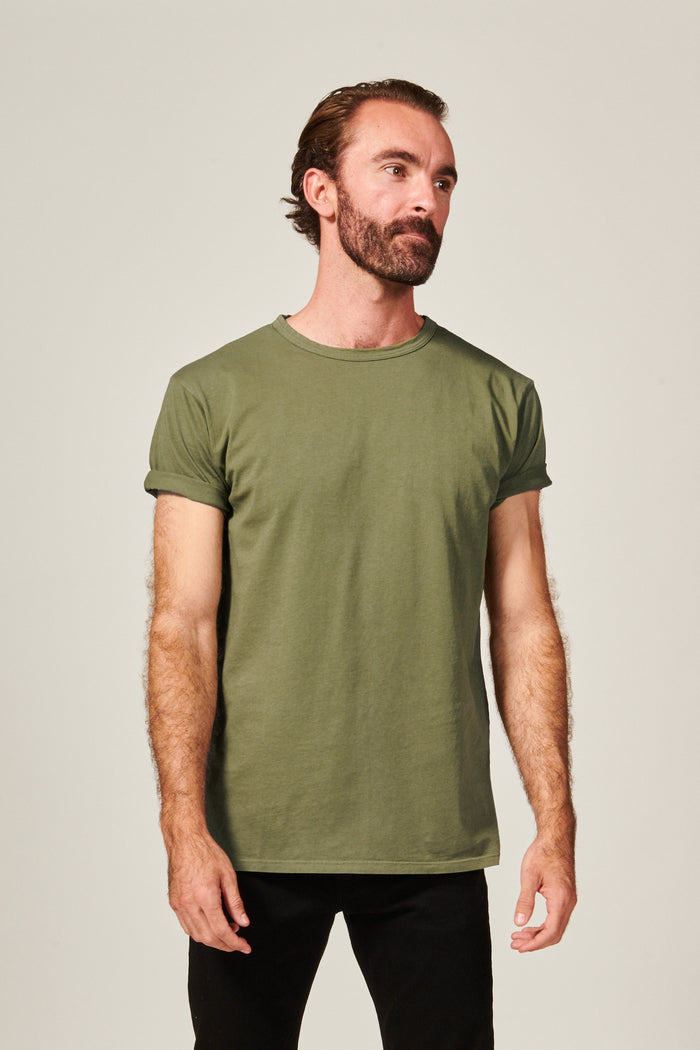 Classic Olive  Straight Hem T shirt. Garment Dyed 100% Pima Cotton- Rustic Dime - Made in USA