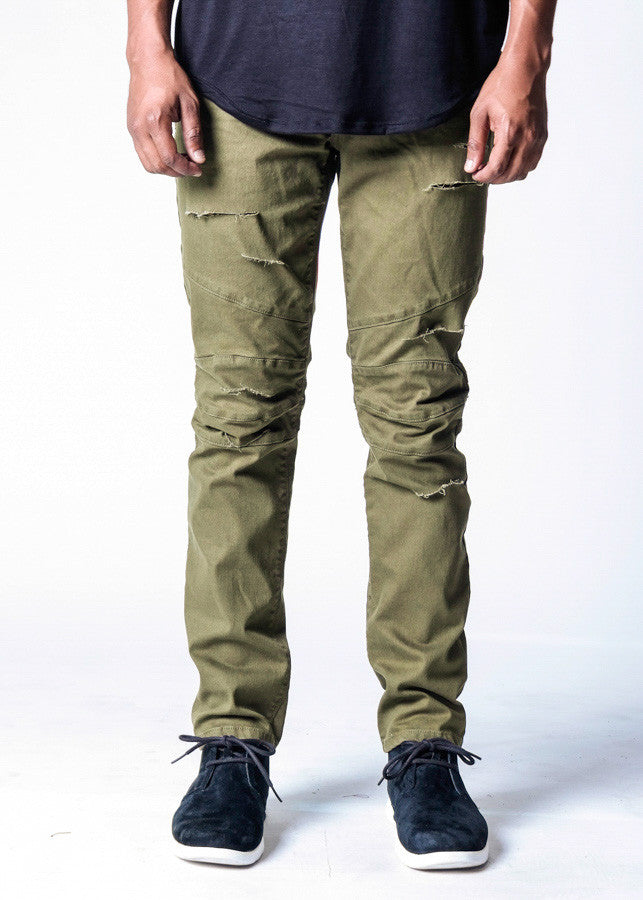 Olive Shredded | Biker Denim - Rustic Dime