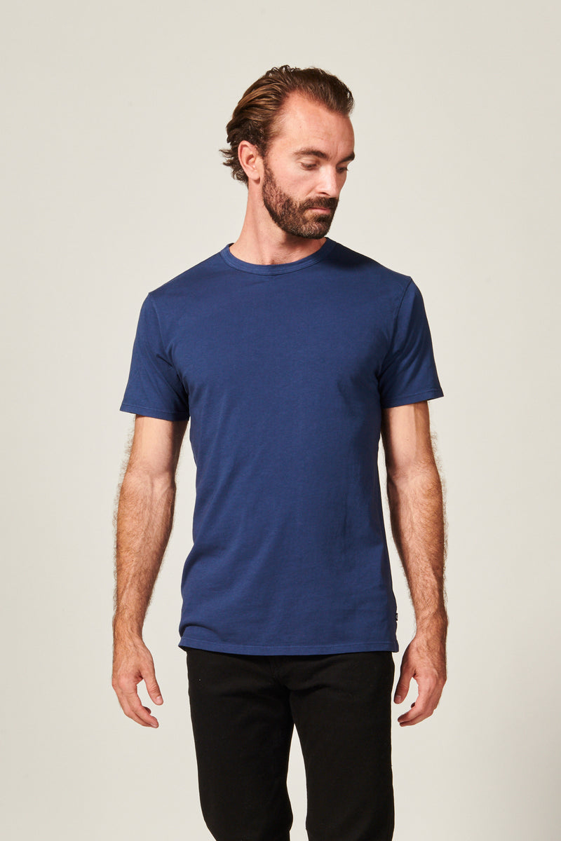 Classic Navy Straight Hem T shirt. Garment Dyed 100% Pima Cotton- Rustic Dime - Made in USA