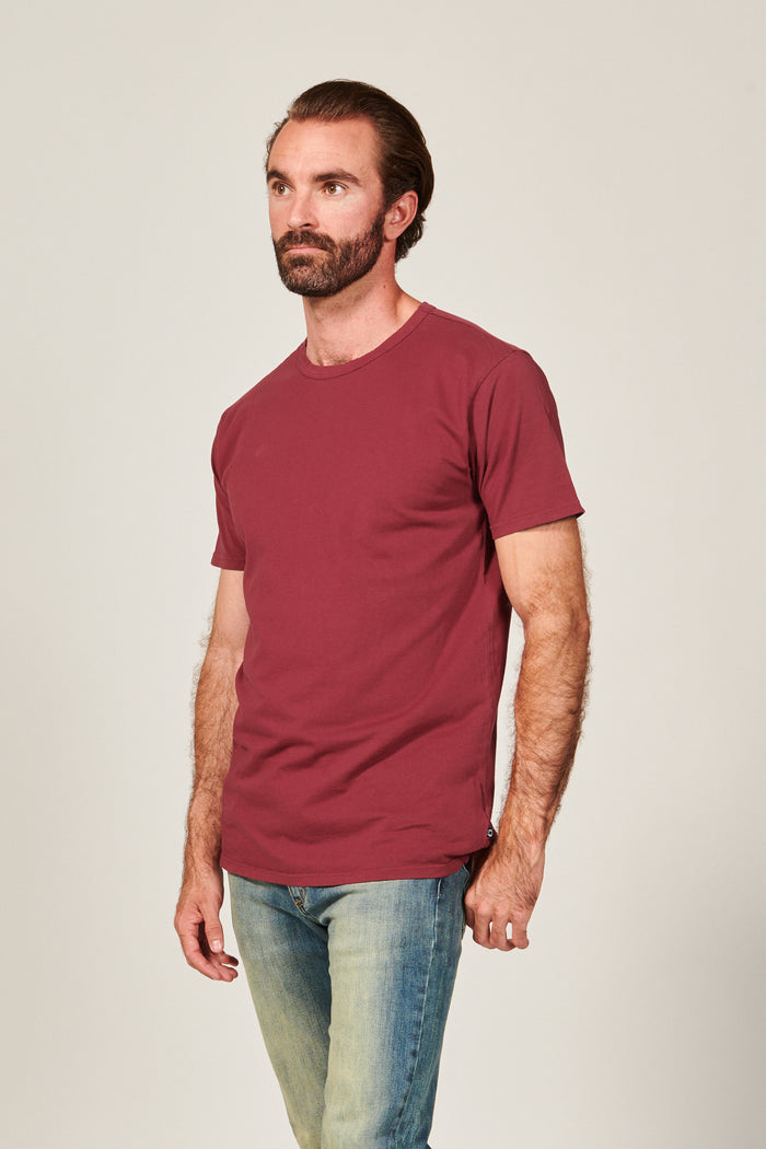 Classic Burgundy Straight Hem T shirt. Garment Dyed 100% Pima Cotton- Rustic Dime - Made in USA