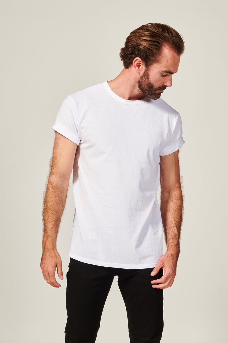 Classic white Straight Hem T shirt. Garment Dyed 100% Pima Cotton- Rustic Dime - Made in USA