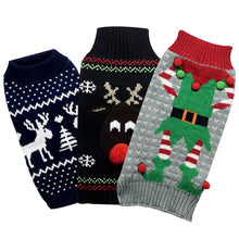 Load image into Gallery viewer, Christmas Holiday Dog Sweaters (3 Pack). Designed to Fit Small Dogs Weighing 14 to 18 Pounds