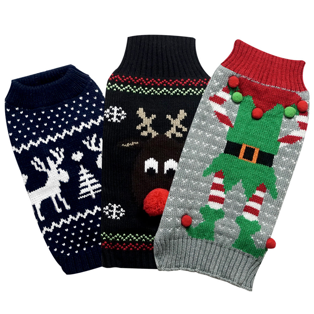 Christmas Holiday Dog Sweaters (3 Pack). Designed to Fit Small Dogs Weighing 14 to 18 Pounds