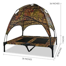 "Load image into Gallery viewer, Just Chillin' Elevated Dog Bed Cot with Removable Canopy. Lightweight and Portable.  High Quality Steel Construction.  Large Camo 36"" L x 30"" W x 36"" H"