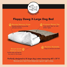 "Load image into Gallery viewer, Super Extra Large Dog Bed with Blended Memory Foam, Removable Cover and Waterproof Liner - Brown 48"" L x 30"" W x 8"" H"
