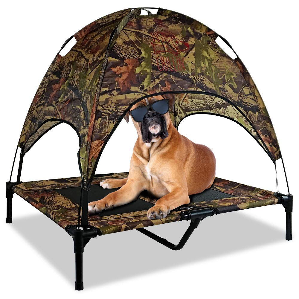"Just Chillin' Elevated Dog Bed Cot with Removable Canopy. Lightweight and Portable.  High Quality Steel Construction.  Large Camo 36"" L x 30"" W x 36"" H"