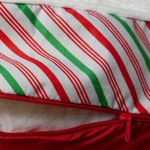 "Load image into Gallery viewer, Extra Large Candy Cane Dog Bed Cover. Universal Fit for Pillows 48"" L x 30"" W x 6-8"" H – Just in Time for the Christmas Holiday."