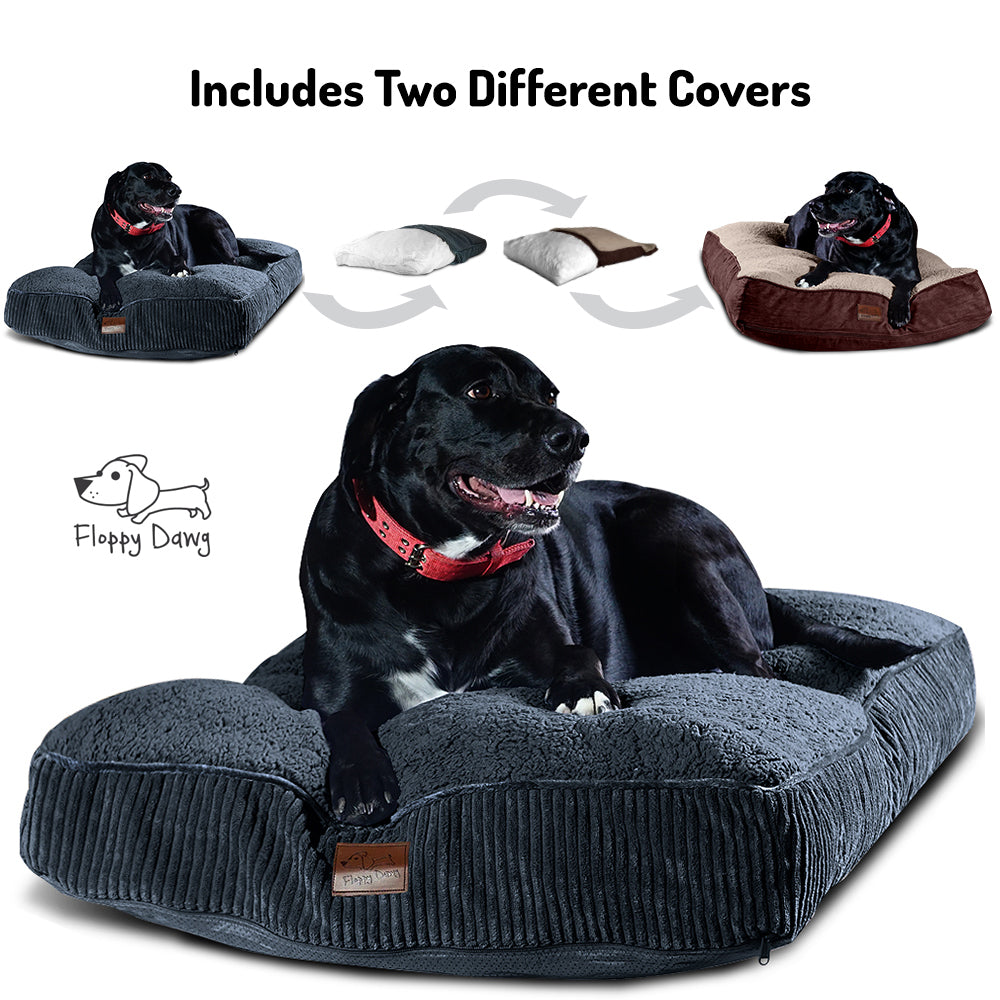 Super Extra Large Interchangeable 2-in-1 Dog Bed. Includes Two Removable Machine Washable Covers and Waterproof Liner - Gray 48