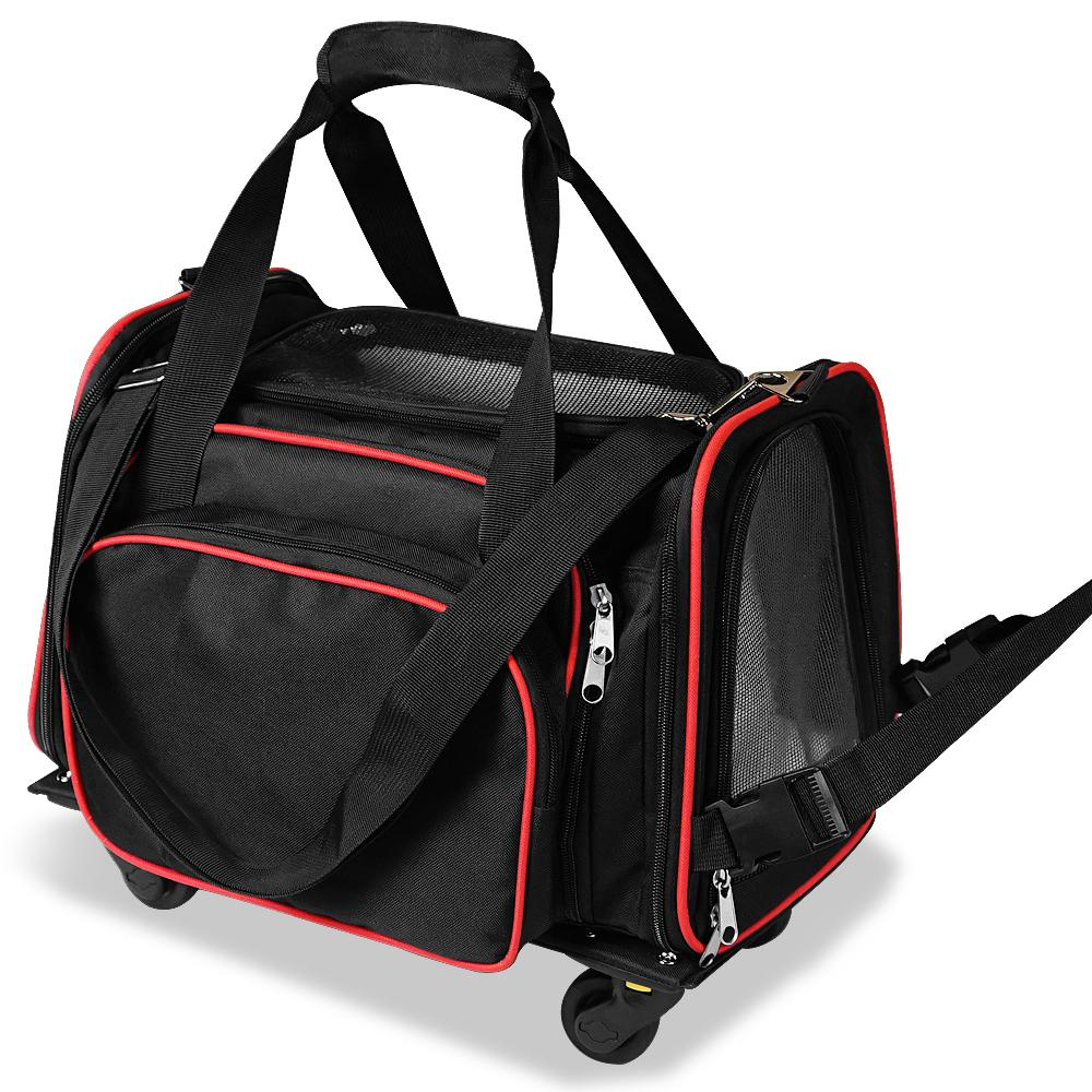 3 in 1 Pet Carrier with Wheels for Dogs and Cats Up to 12 Pounds. Soft Sided Tote, Mesh Ventilation Windows, Removable Wheels. Airline Approved
