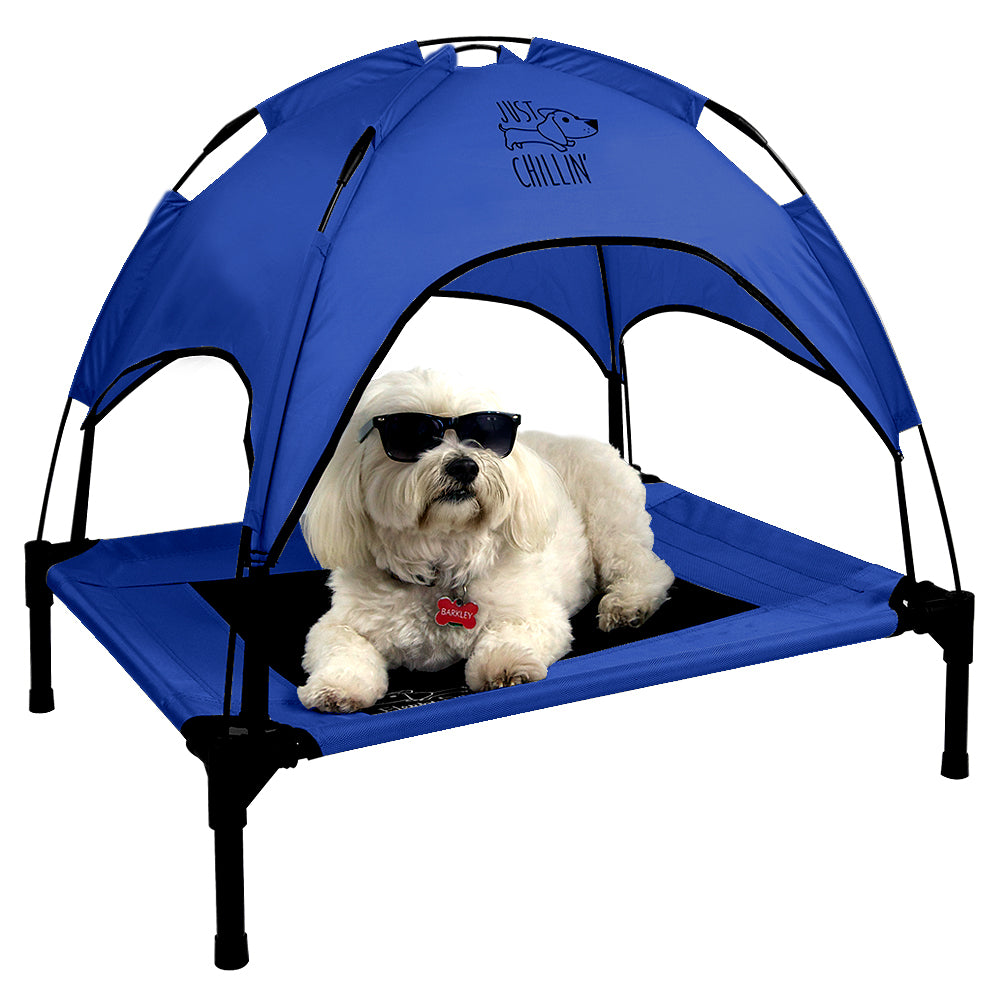 "Just Chillin' Elevated Dog Bed Cot with Removable Canopy. Lightweight and Portable.  High Quality Steel Construction.  Medium Blue 30"" L x 24"" W x 28"" H"