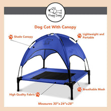 "Load image into Gallery viewer, Just Chillin' Elevated Dog Bed Cot with Removable Canopy. Lightweight and Portable.  High Quality Steel Construction.  Medium Blue 30"" L x 24"" W x 28"" H"