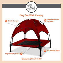 "Load image into Gallery viewer, Just Chillin' Elevated Dog Bed Cot with Removable Canopy. Lightweight and Portable.  High Quality Steel Construction.  Medium Red 30"" L x 24"" W x 28"" H"