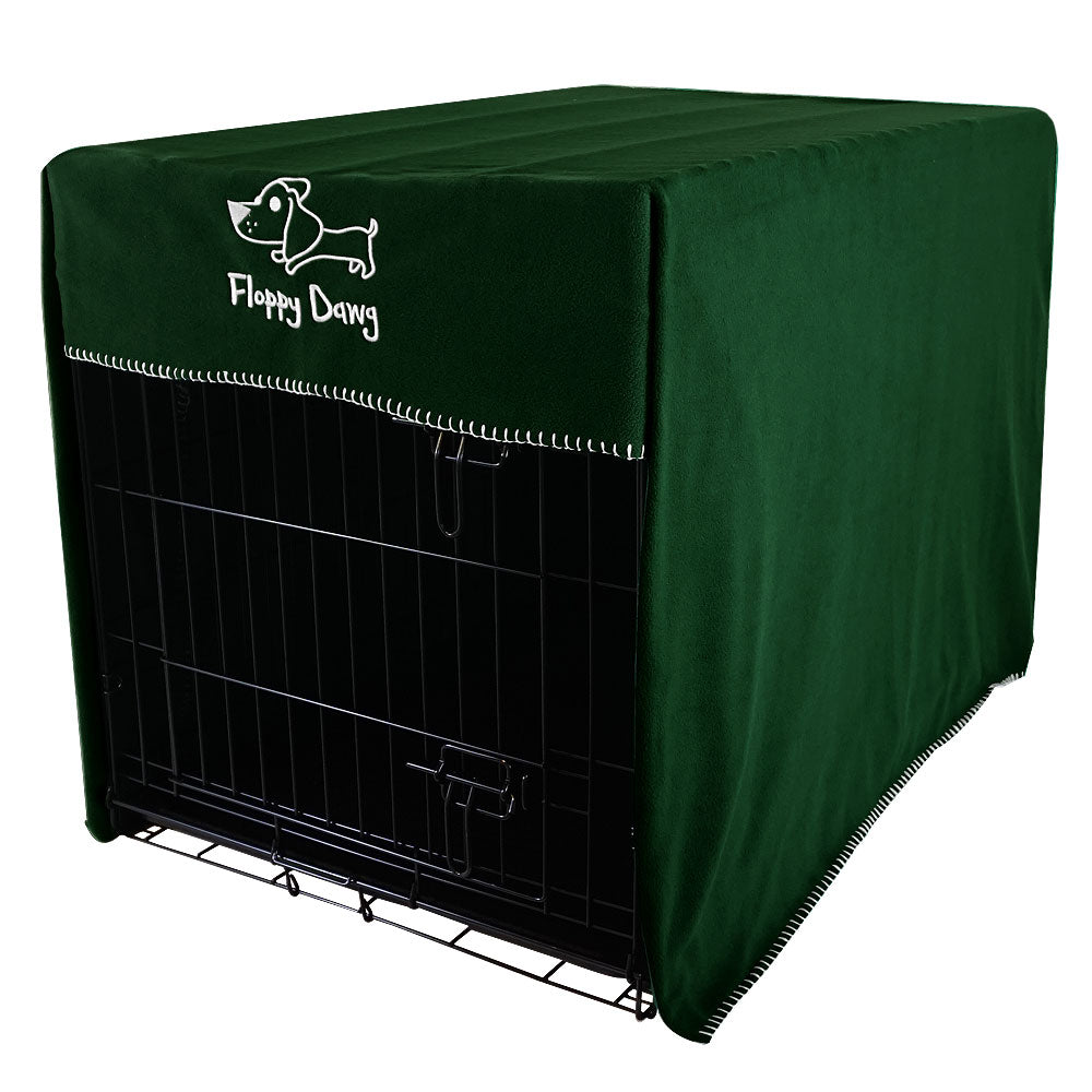 Extra Large 42 Inch Crate Cover in Kale Green Polar Fleece