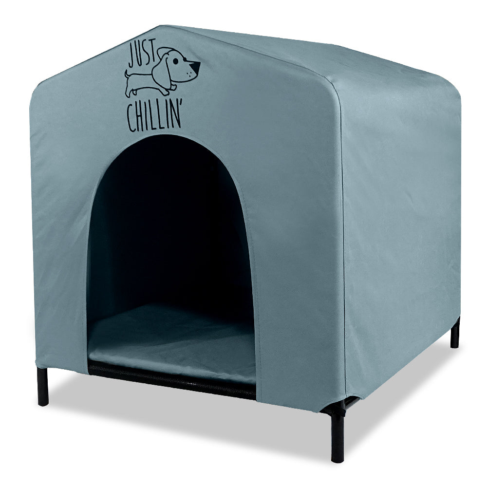 Just Chillin' Elevated Portable Dog House for Outdoor and Indoor Use. Water Resistant. Easy to Assemble, Lightweight, and Portable. 24