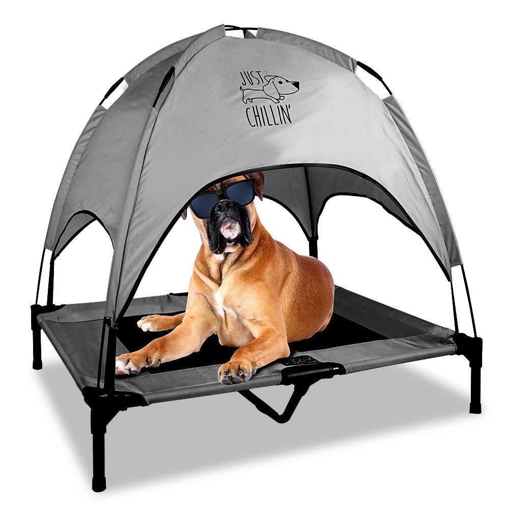 "Just Chillin' Elevated Dog Bed Cot with Removable Canopy. Lightweight and Portable.  High Quality Steel Construction.  Large Gray 36"" L x 30"" W x 36"" H"