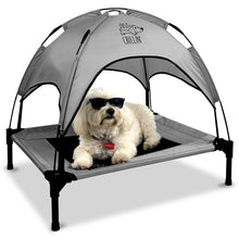 "Load image into Gallery viewer, Just Chillin' Elevated Dog Bed Cot with Removable Canopy. Lightweight and Portable.  High Quality Steel Construction.  Medium Gray 30"" L x 24"" W x 28"" H"