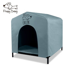 "Load image into Gallery viewer, Just Chillin' Elevated Portable Dog House for Outdoor and Indoor Use. Water Resistant. Easy to Assemble, Lightweight, and Portable. 24"" L x 23"" W x 25"" H"