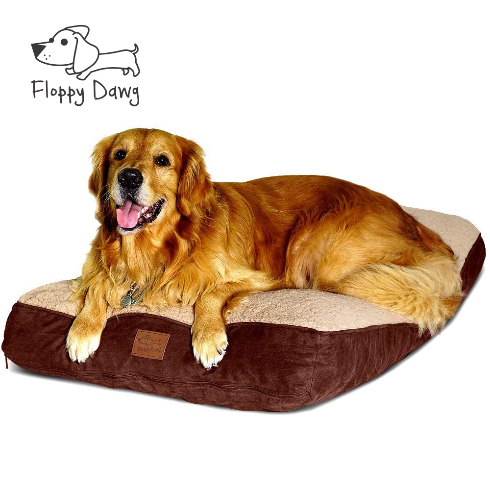 Large Dog Bed with Blended Memory Foam, Removable Cover and Waterproof Liner - Brown 40
