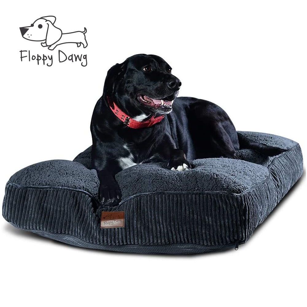 Super Extra Large Dog Bed with Blended Memory Foam, Removable Cover and Waterproof Liner - Gray 48