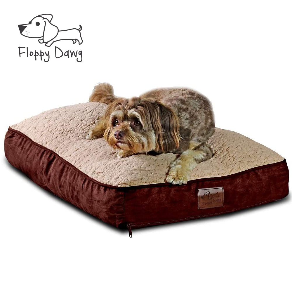 Medium Dog Bed with Blended Memory Foam, Removable Cover and Waterproof Liner - Brown 30
