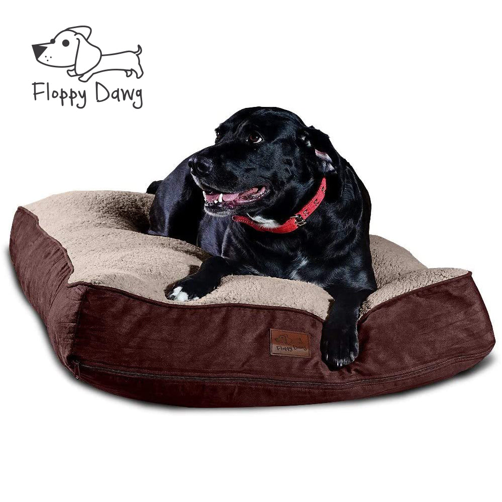 Super Extra Large Dog Bed with Blended Memory Foam, Removable Cover and Waterproof Liner - Brown 48
