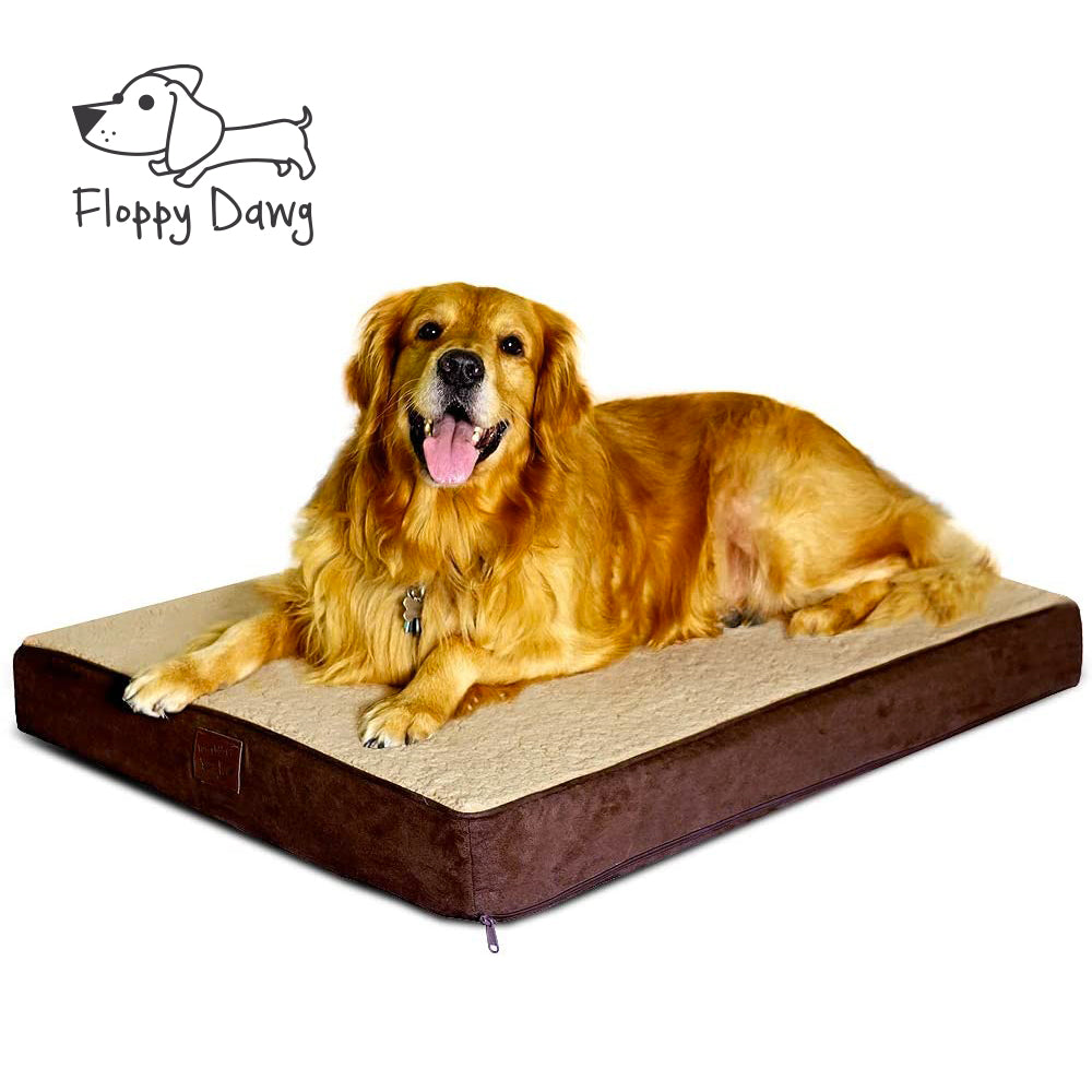 Large Orthopedic Memory Foam Dog Bed, Removable Cover and Waterproof Liner - Brown 40