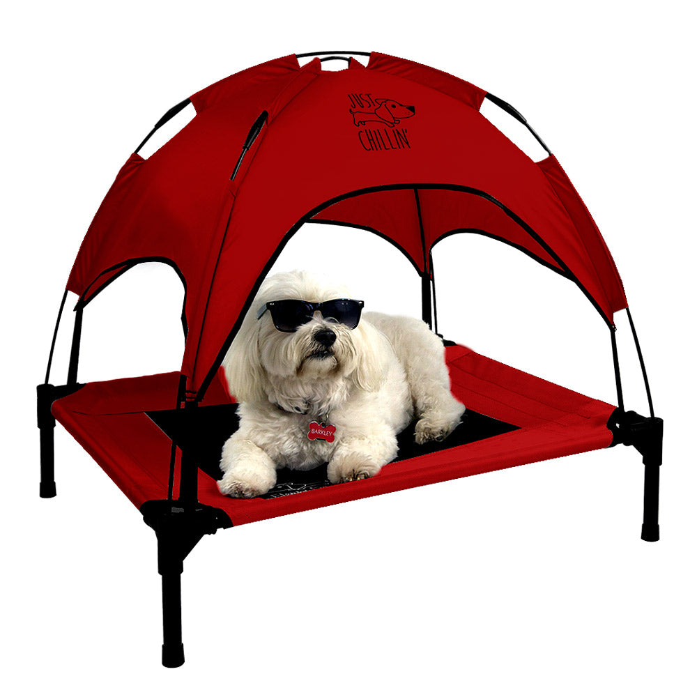 "Just Chillin' Elevated Dog Bed Cot with Removable Canopy. Lightweight and Portable.  High Quality Steel Construction.  Medium Red 30"" L x 24"" W x 28"" H"