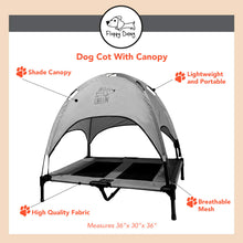 "Load image into Gallery viewer, Just Chillin' Elevated Dog Bed Cot with Removable Canopy. Lightweight and Portable.  High Quality Steel Construction.  Large Gray 36"" L x 30"" W x 36"" H"