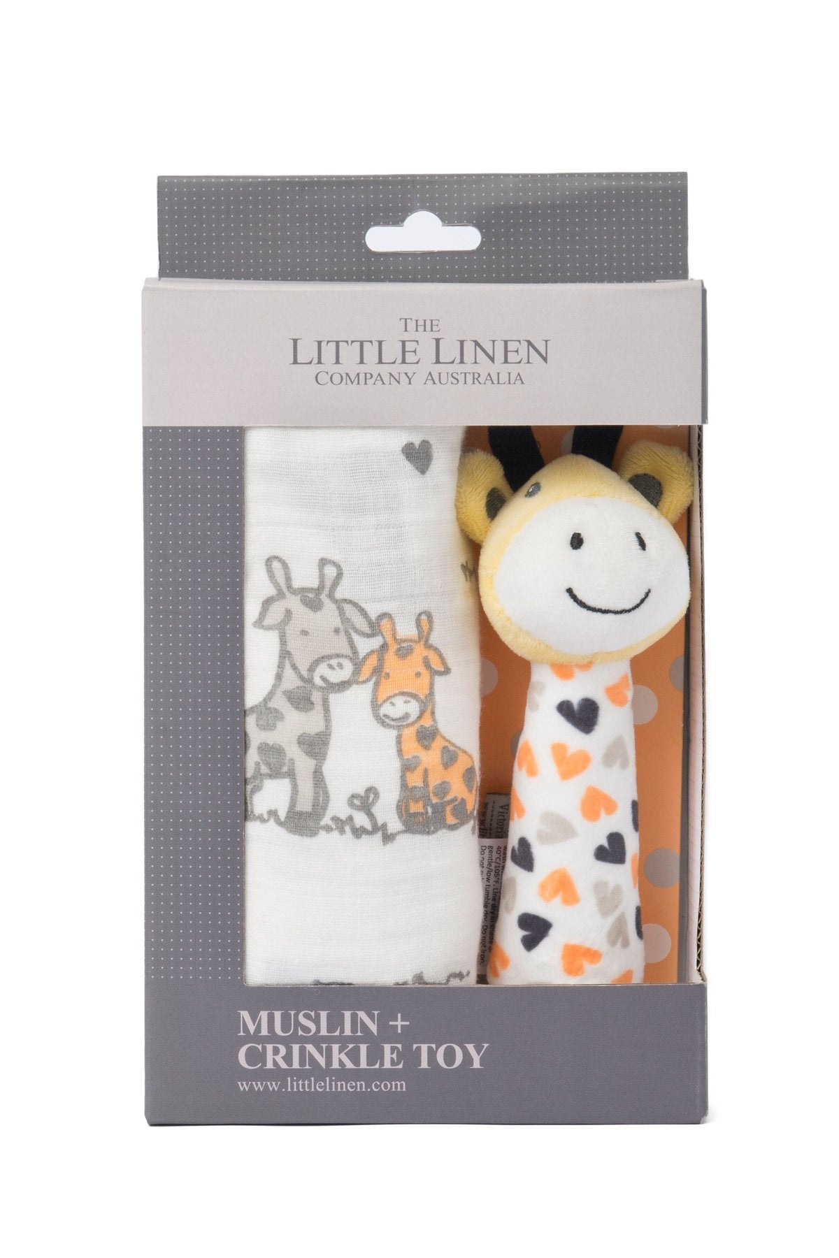 Little Linen Muslin Wrap & Crinkle Toy - Orange Giraffe