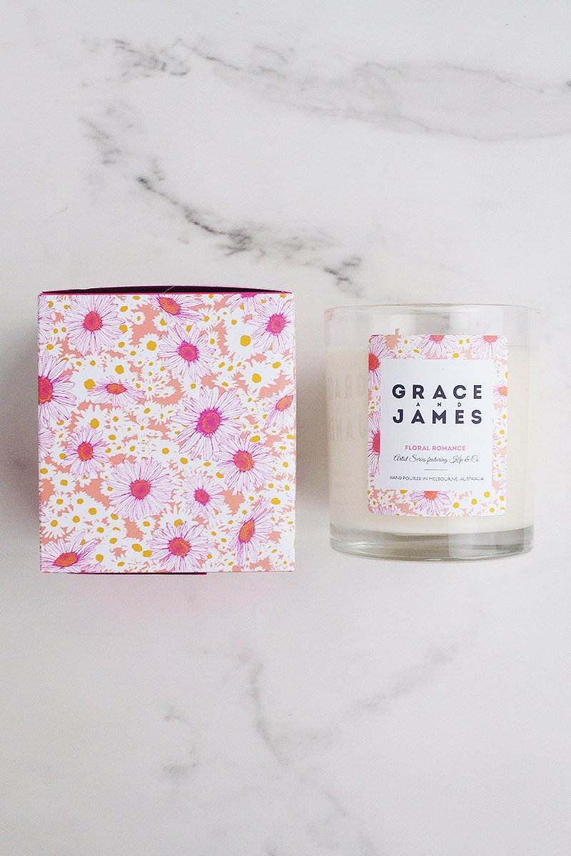 Grace and James Floral Romance 40 Hour Candle